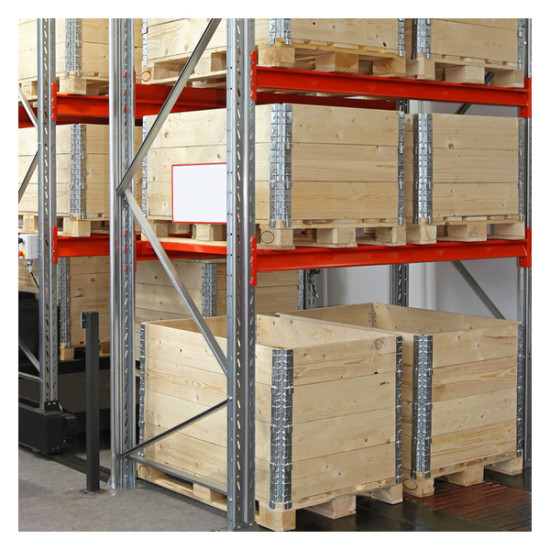 Wooden shipping boxes with pallets in warehouse shelving